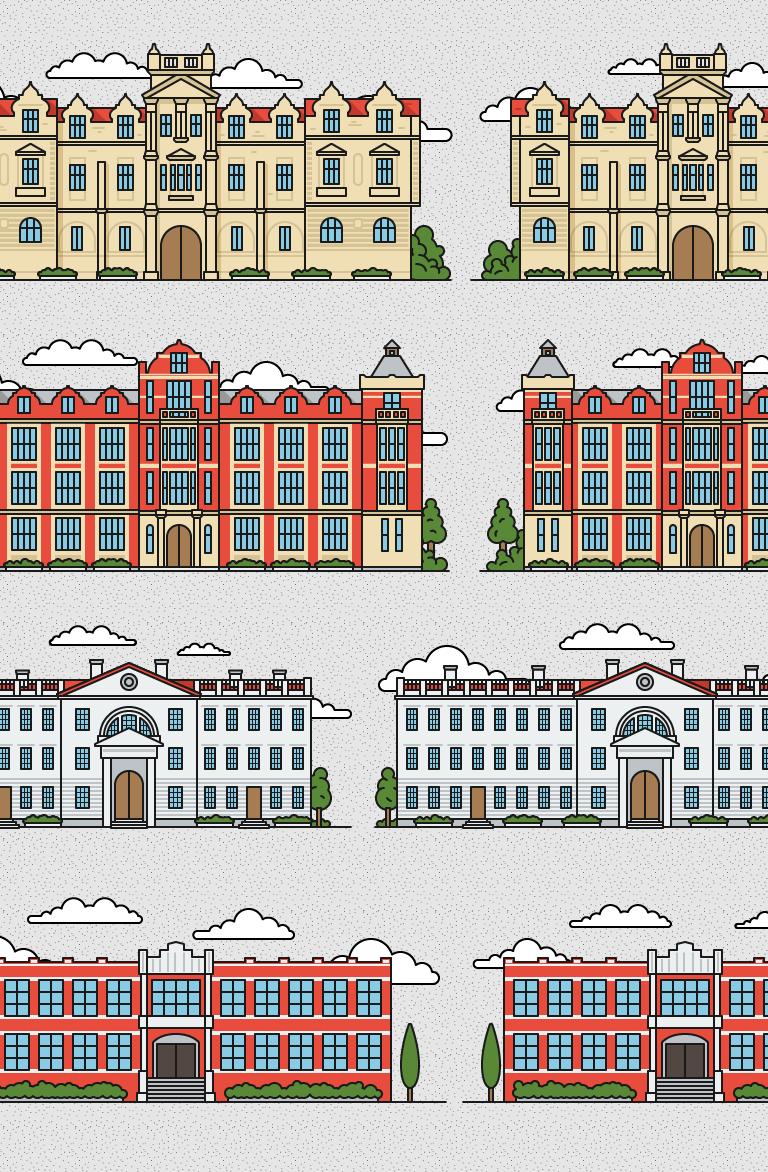 иконки иллюстрации зданий вузов британских