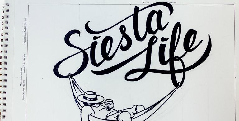 Процесс создания логотипа для блога Сиеста Лайф леттеринг Siesta Life