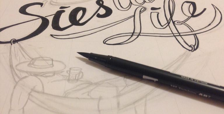 Процесс создания логотипа для блога Сиеста Лайф эскиз